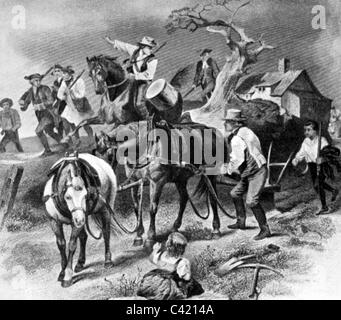 events, American Revolutionary War 1775 - 1783, German settlers follow the call to arms, illustration after painting, - Stock Photo