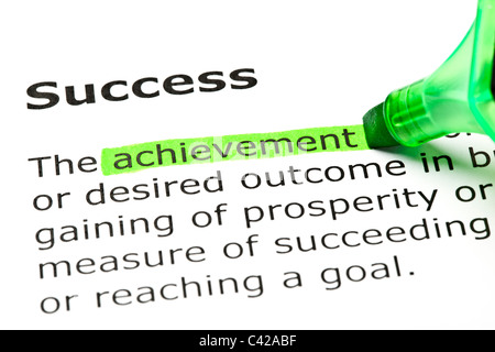 'Achievement' highlighted in green, under the heading 'Success' - Stockfoto