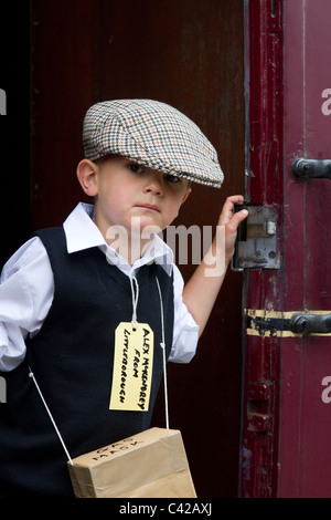 World War 2 Child refugee  Re-enactment at a British Railway Station The 1940, 1941, 1942, 1943, 1944,  Wartime - Stock Photo