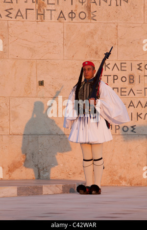 Changing of the Guard at the Tomb of the Unknown Soldier by the Evzones in Athens, Greece - Stock Photo