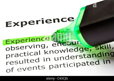 The word 'Experience' highlighted in green with felt tip pen - Stockfoto