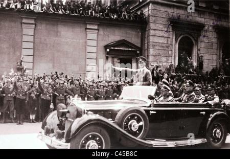 Hitler in Munich in 1940 in the car - Stock Photo