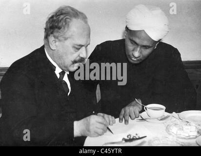 Arnold Sommerfeld with Chandrasekhara Venkata Raman, 1928 - Stock Photo