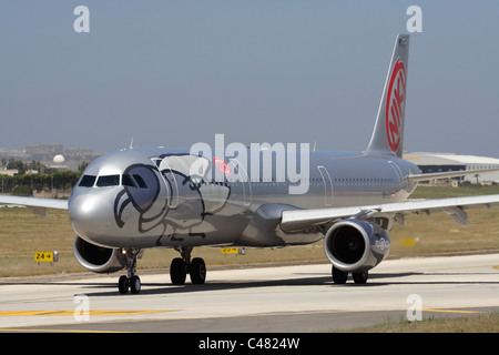 Niki Airbus A321 taxiing for departure from Malta - Stock Photo
