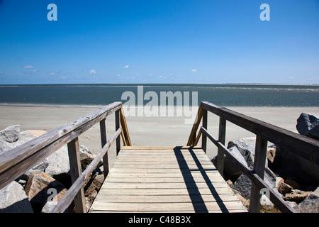 Wooden boardwalk to the beach on Seabrook Island, near Charleston, South Carolina, USA - Stock Photo