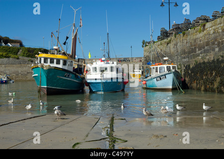 Fishing boats in Newquay harbour, Cornwall UK. - Stock Photo