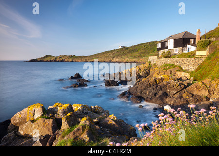 Looking over Perprean Cove towards Chynhalls Point from Dolor Point, Coverack, Lizard Peninsula, Cornwall, England. - Stock Photo