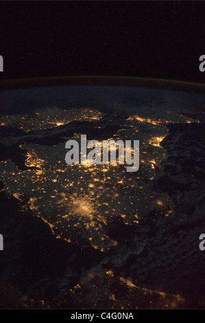 The UK and Ireland at night, seen from the International Space Station - Stock Photo