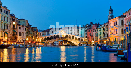 Venice, Rialto Bridge and Grand Canal at Night - Stock Photo