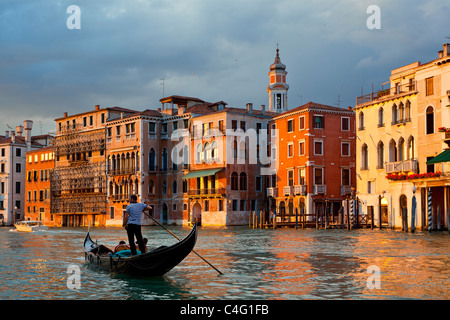 Venice, Gondola on Grand Canal - Stock Photo