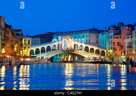 Venice, Rialto Bridge at Night - Stock Photo