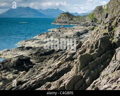 The Cuillin mountains viewed from the Point of Sleat on the Isle of Skye on a sunny day. - Stock Photo