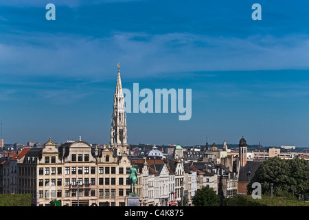 View from Mont des Arts to the guildhall and the city center, Brussels, Belgium, Europe - Stock Photo