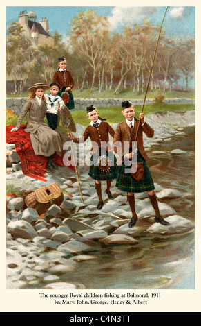 Princes Fishing, Balmoral 1911, The younger children of George V, l to r Mary, John, George, Henry and Albert, later - Stock Photo