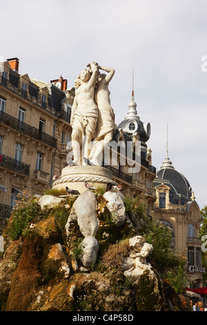 Three Graces Fountain, Place de la Comédie, Montpellier, Hérault, Languedoc-Roussillon, France - Stock Photo