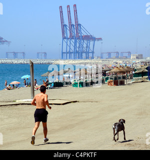 Jogger and his dog on Malagueta beach with the port to the rear, Malaga, Costa del Sol, Malaga Province, Andalucia, - Stock Photo