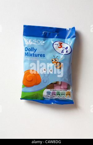 Packet of Tesco Dolly Mixtures sweets isolated on white background - Stock Photo