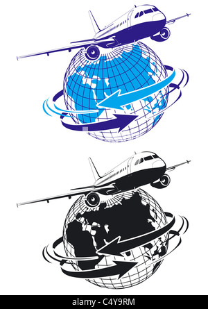 airliner as a logo - Stock Photo