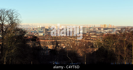 A view over Glasgow taking in the south side, city centre, Townhead, Gorbals, Red Road Flats all the way to the - Stock Photo