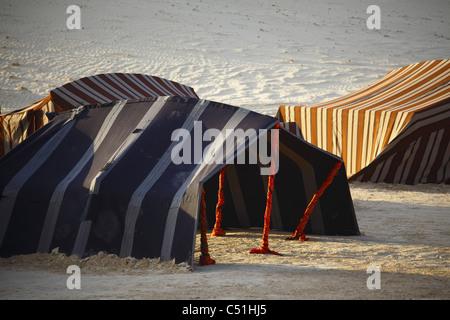 Africa, Tunisia, Nefta, Sahara Desert, Ong El Djemel, Berber Tents - Stock Photo