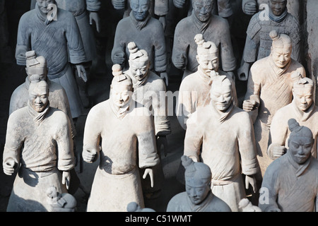 Close Up View of Light Infantry Clay Soldiers, Museum of Terra Cotta Warriors and Horses, Shaanxi, China - Stock Photo