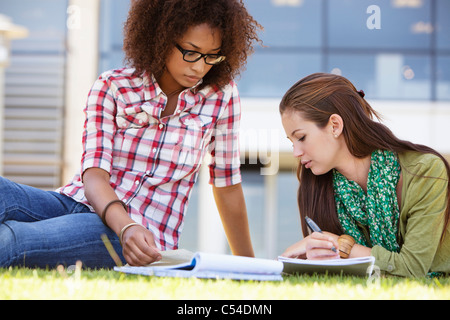 Two female friends studying in a campus - Stock Photo