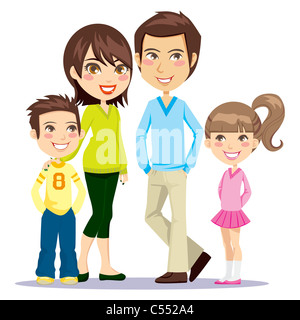 Four member family happily smiling together looking at front - Stock Photo