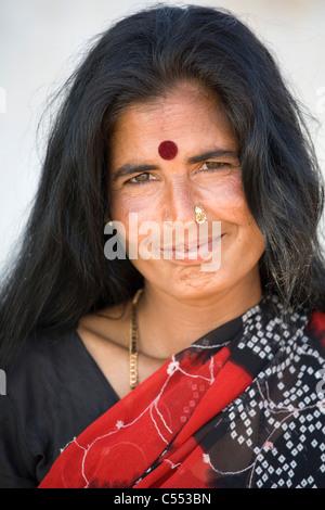 India, Rajastan, Great Thar Desert, Woman of Jaisalmer, - Stock Photo