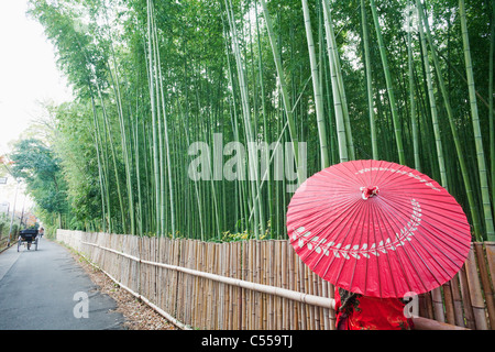 Woman walking in a bamboo forest, Arashiyama, Kyoto Prefecture, Kinki Region, Honshu, Japan - Stock Photo