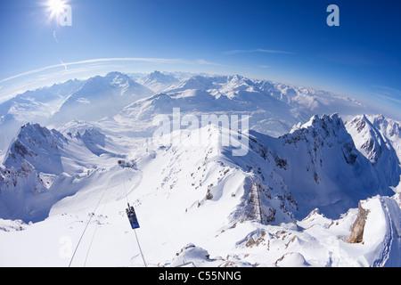 High angle view of snow covered mountains, Valluga, Sankt Anton am Arlberg, Austrian Alps, Tyrol, Austria - Stock Photo
