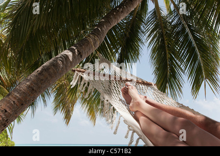 Couple laying in hammock under palm tree - Stock Photo