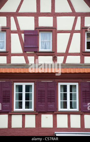 Detail of an old house with fachwerk or half-timbering in the city of Haslach, Schwarzwald, Baden-Wurttemberg, Germany - Stock Photo