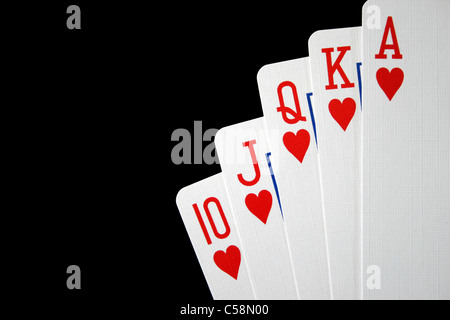 Royal Flush of Hearts - Stockfoto