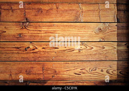 Very old and worn wooden planks with rusty nails. - Stockfoto
