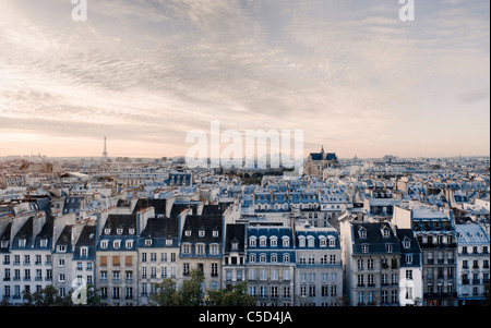 High angle view of residential buildings in Paris, France - Stock Photo