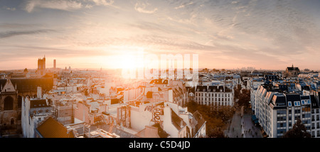 High angle view of residential buildings in Paris at sunset, France - Stock Photo