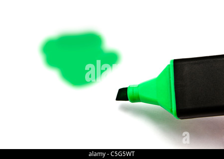 Green highlighter isolated on white background - Stockfoto