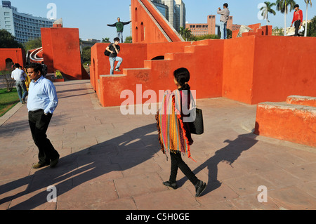 People at the Jantar Mantar - an ancient astronomical observatory in Delhi. - Stock Photo