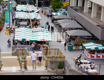The food market behind the Royal Festival Hall, London; part of the Festival of Britain anniversary celebrations. - Stock Photo