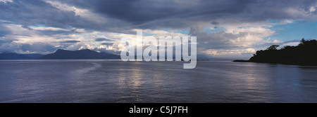 Evening on the Sound of Sleat at Armadale, loking towards Mallaig and the Scottish mainland, Scottish Highlands, - Stock Photo
