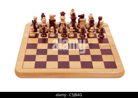 Teamwork shown by a set of chess pieces intermixed and working together - path included - Stock Photo