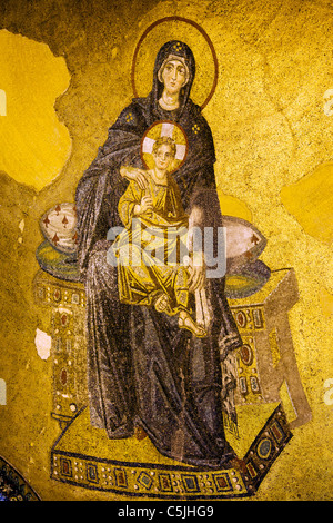Byzantine mosaic of Virgin Mary and Jesus Christ in the Hagia Sofia, Istanbul, Turkey. - Stock Photo