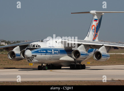 Volga-Dnepr Airlines Ilyushin Il-76TD cargo jet taxiing for departure - Stock Photo