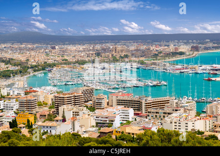 Aerial view of Palma de Mallorca in Majorca Balearic islands Spain - Stock Photo
