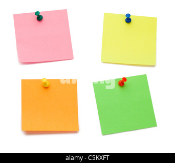 Color post-its with drawing pins - Stock Photo