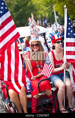 A woman dressed in patriotic costume in the I'On Community 4th of July parade. - Stock Photo