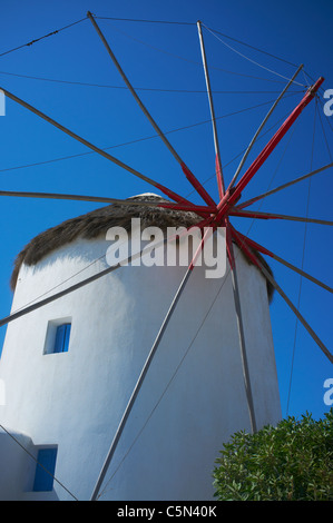 The windmills used to grind flour now used as houses Mykonos Greece - Stock Photo
