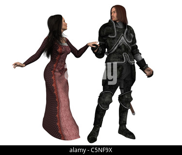 Mediaeval Knight and his Lady - Stock Photo