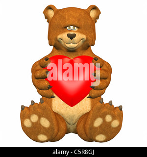 Illustration of a sad bear holding a heart - Stock Photo