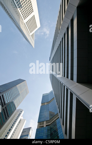Skyscrapers of financial district, central business district, Singapore, Southeast Asia, Asia - Stock Photo